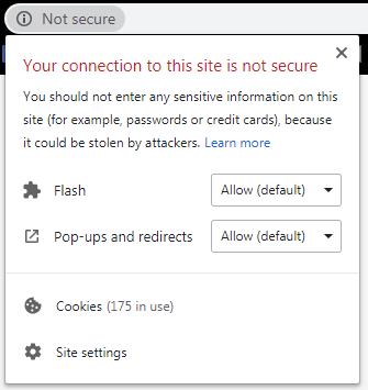 La notification détaillée d'un site Web «non sécurisé» dans Google Chrome.